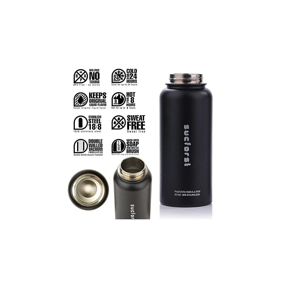 SUCFORST Water Bottle +2 Extra Lids Vacuum Insulated Stainless Steel Wide Mouth Travel Mug Powder Coated Double Walled Flask,36 oz,32 oz,24 oz,18 oz