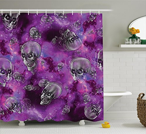 Skull Decor Shower Curtain by Ambesonne, Horror Movie Themed Flying Skull Heads Halloween in Outer Space Image, Fabric Bathroom Decor Set with Hooks, 70 Inches, Black and (Best Halloween Themed Movies)