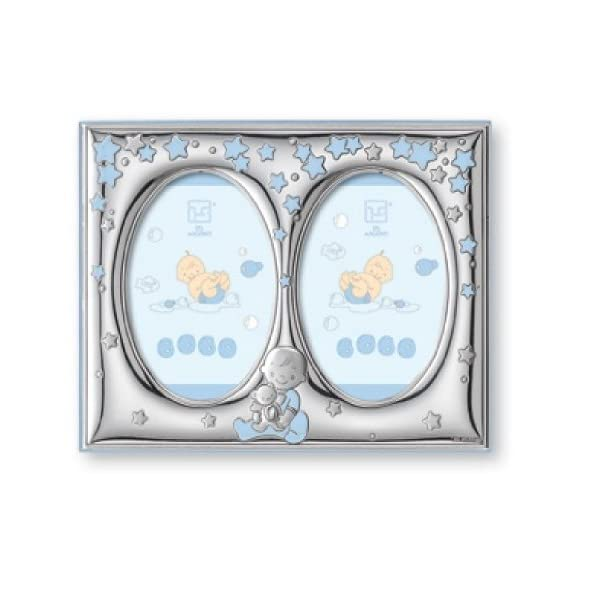 Silver Touch USA Finest Sterling Silver Double Picture Frame, Blue, 5″ X 7″