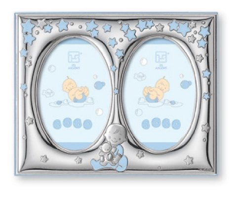 Silver Touch USA Finest Sterling Silver Double Picture Frame, Blue, 5'' X 7''