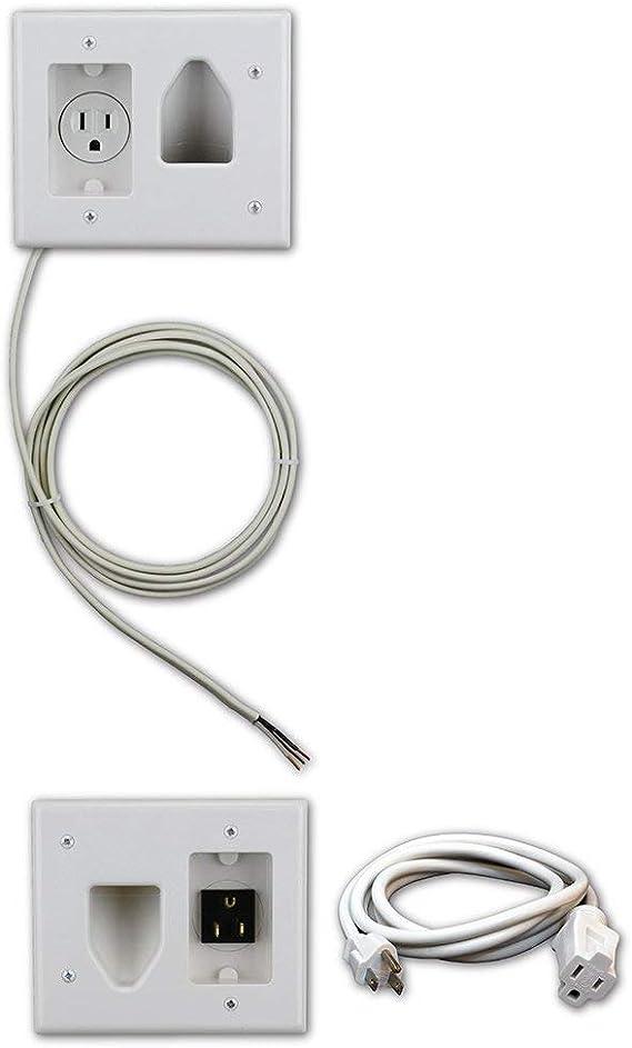 DataComm Electronics 50-3323-WH-KIT Flat Panel TV Cable Organizer Kit with Power Solution - White