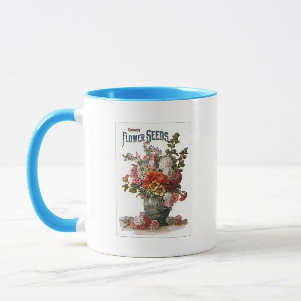 Zazzle Vintage Assorted Annuals Seed Packet Mug, Light Blue Combo Mug 11 oz
