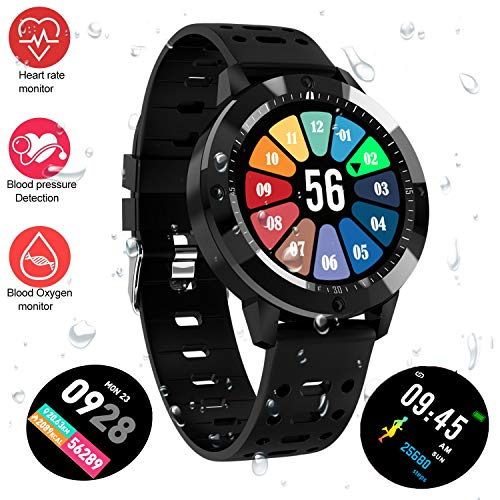 """Fitness Tracker Watch, Upgraded IP67 Waterproof HD Color Screen Smart Bracelet, HR/Blood Oxygen/Pressure/Calorie/Sleep Monitor Pedometer Activity Tracker for Android/iOS (1.3"""" Large Screen Black)"""