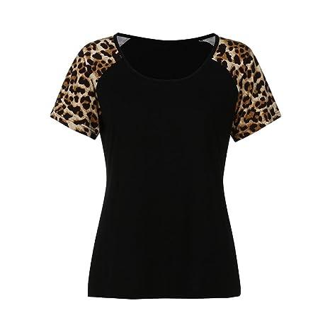 JYC Camiseta Personalizada, 2018 Nuevo Blusas Para Mujer, Vaquera Gasa Camisetas Mujer, Moda Mujer Señoras Corto Manga Leopardo Labor de Retazos Blusa Tops ...