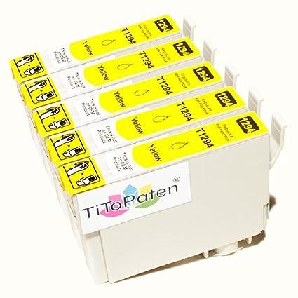 *TITOPATEN* 5x Epson Workforce WF 3520 DWF kompatible XL Druckerpatrone ersetzt Typ T1291-1294 - Gelb - Patrone MIT CHIP !!!