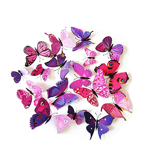 ueetek 12pcs Lovely 3d mariposa pizarra imanes de nevera arte para ...