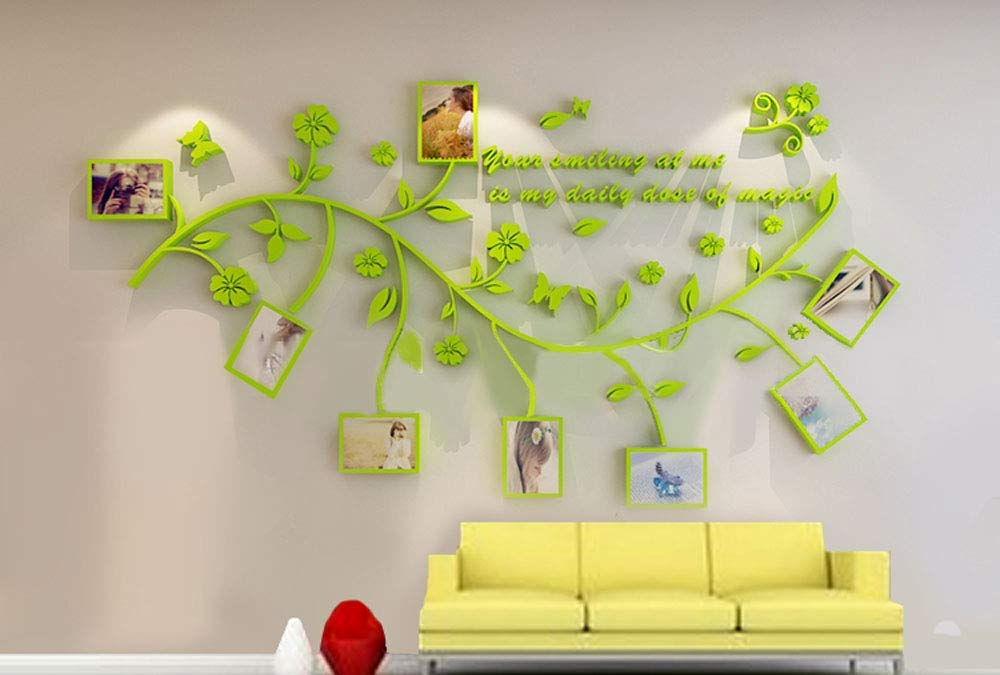 Easy to Install /& Apply History Decor Mural for Home DIY Photo Gallery Frame Decor Sticker LECHEN Family Tree Wall Decal A Bedroom Stencil Decoration Peel /& Stick Vinyl Sheet