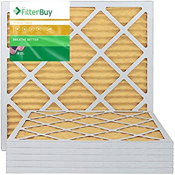 FilterBuy 20x22x1 MERV 11 Pleated AC Furnace Air Filter, (Pack of 6 Filters), 20x22x1 - Gold