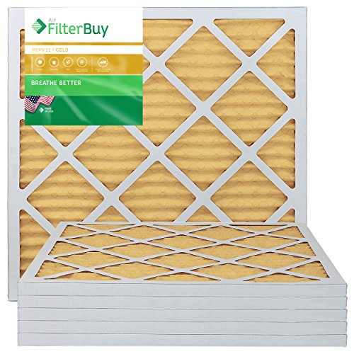 - FilterBuy 20x20x1 MERV 11 Pleated AC Furnace Air Filter, (Pack of 6 Filters), 20x20x1 - Gold