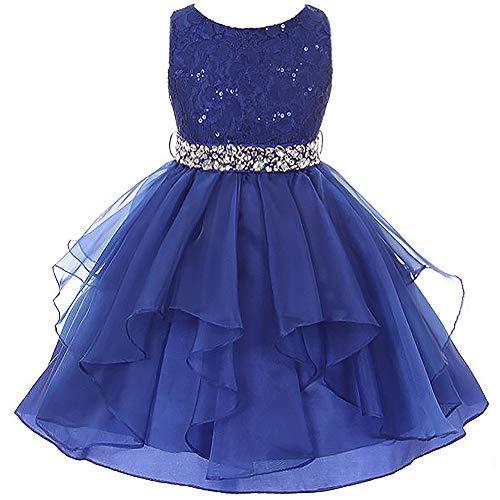(Big Girls Lace Bodice Asymmetric Ruffles Tulle Skirt Rhinestones Flower Girl Dress Royal Blue - Size 8)