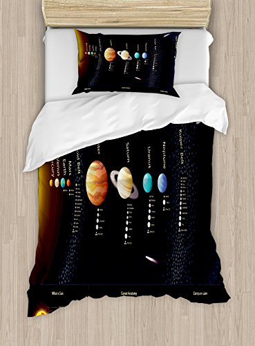 Outer Space Decor Duvet Cover Set by Ambesonne, Detailed Solar System with Scientific Information Jupiter Saturn Universe Telescope Print, 2 Piece Bedding Set with Pillow Sham, Twin / Twin XL, Multi by Ambesonne