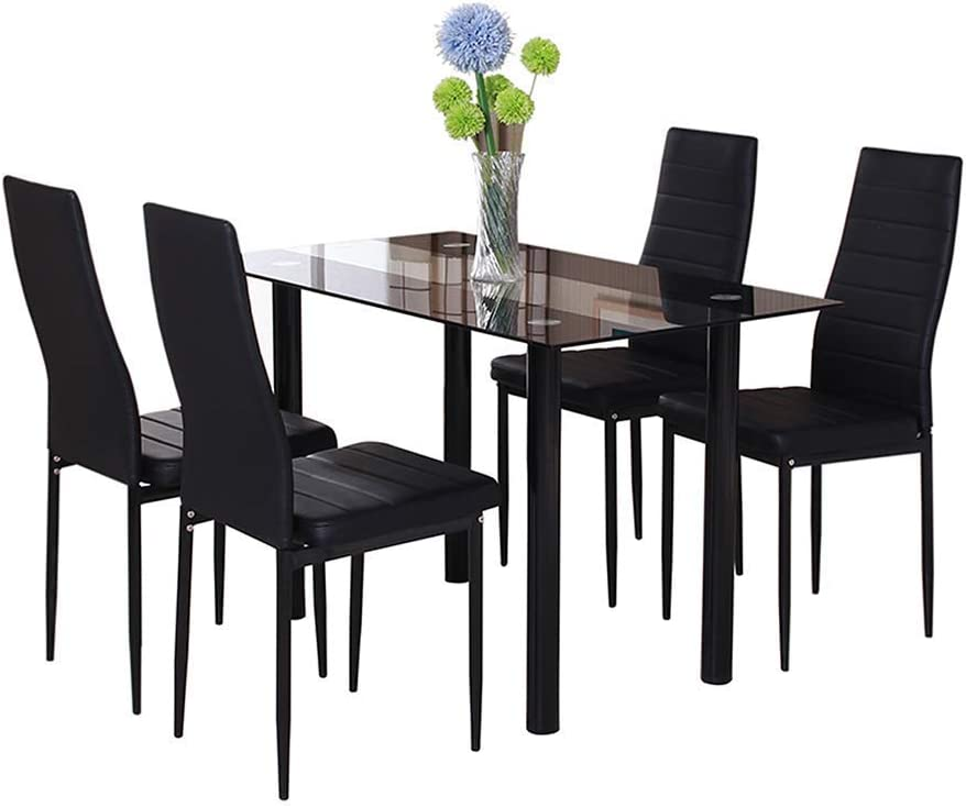 Huiseneu Modern Black Glass Dining Room Chairs And Table Set 4 Faux Leather Chairs For Kitchen Furniture 1 Table 4 Chairs Amazon Co Uk Kitchen Home