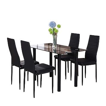 Huiseneu Moderne En Verre Noir Salle A Manger Ensemble De Chaises Table Simili Cuir Pour