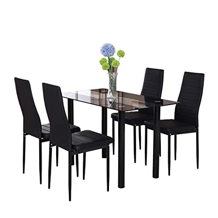 Huiseneu Black Glass Dining Room Chairs Table Set 4 Faux Leather