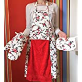 Apron For Women or Men - Ideal Gift for your favorite Cook. Includes: 1 Attached Red Towel, 1 Apron, 1 Potholder & 1 Oven Mitt