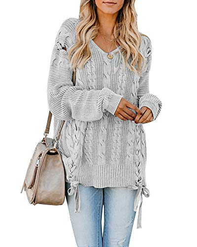 : Womens Pullover Sweaters Plus Size Cable Knit V Neck Lace Up Long Sleeve Fall Jumper Tops