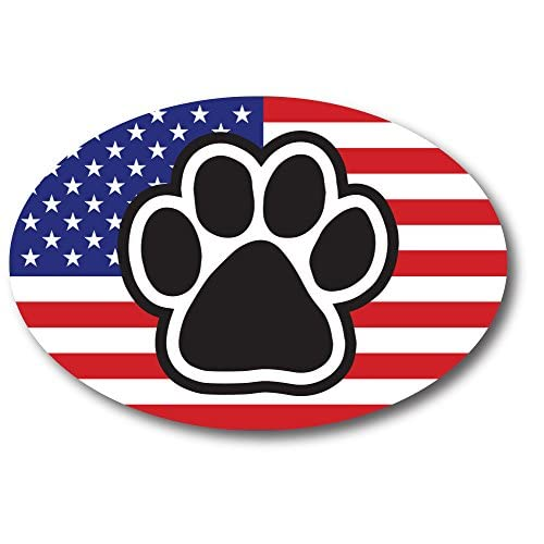 American Flag Oval With Paw Print Car Magnet 4x6 Heavy Duty Waterproof free shipping