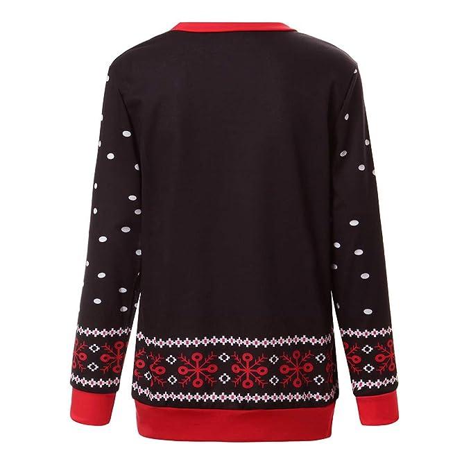 Yusealia Camisas Mujer de Navidad Blusa, Blusas de Mujer Camisa de Manga Larga del Impresión de Navidad Pulóver Dama Suéter O-Cuello Tops Camiseta Sudaderas ...