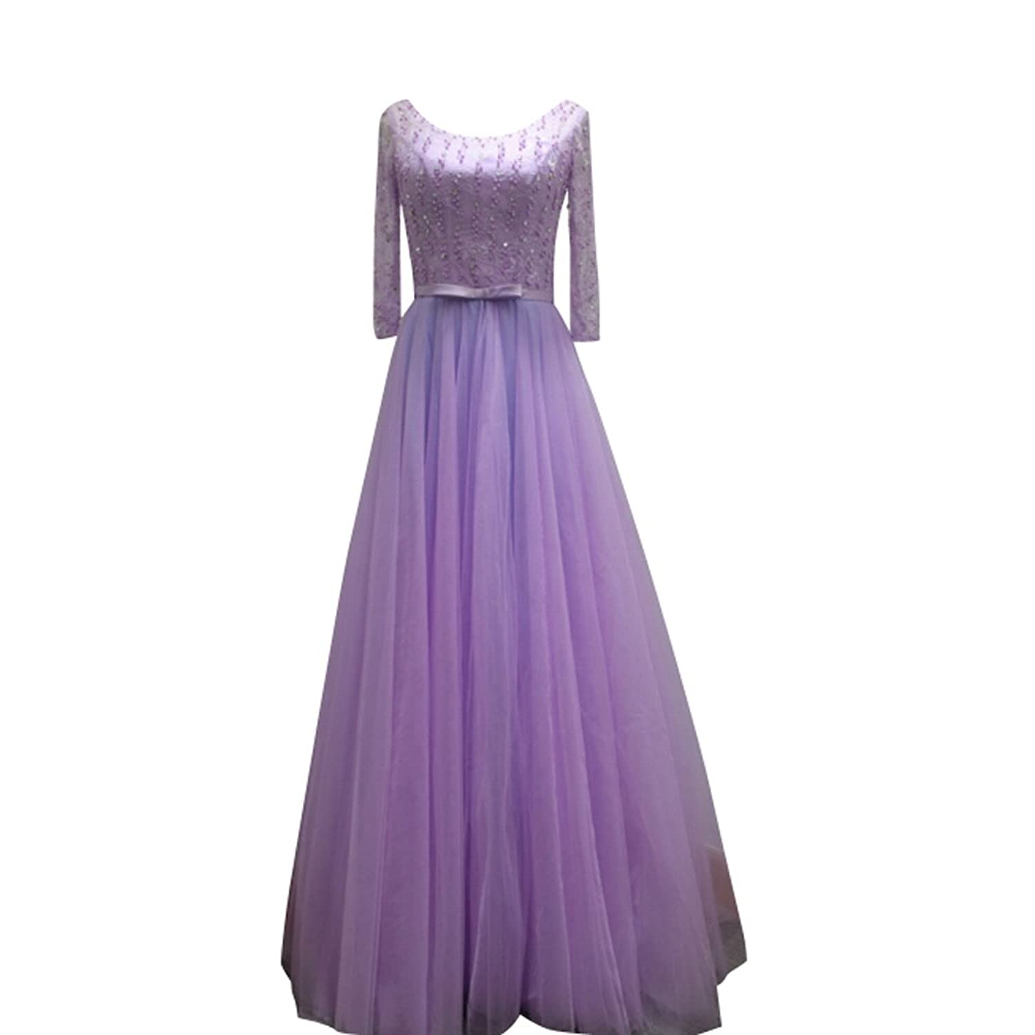 Charm Bridal 2016 Women Beading Evening Party Bridesmaid Dress with Long Sleeve
