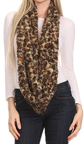 Reversable Fur - Sakkas CXGJ1528 - Abhy Soft Fall Winter Furry Infinity Wrap Scarf - 2-Caramel - OS