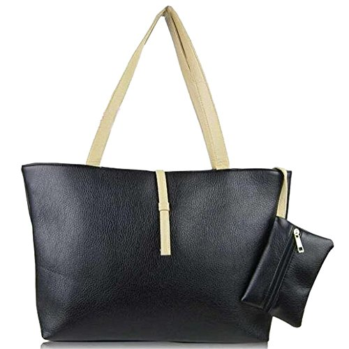 R mother relation Leather handbags candy Shoulder PU women bags child colored SODIAL bags black New design ndxw87qd0U
