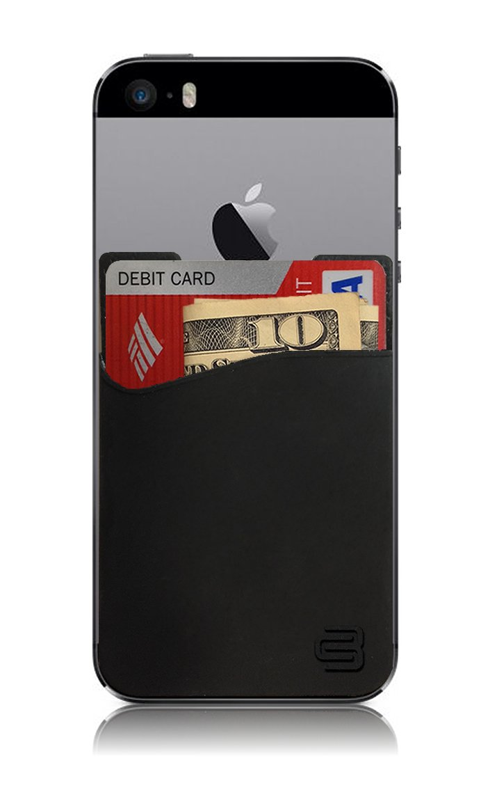 Amazon cardbuddy stick on card holder wallet credit card phone amazon cardbuddy stick on card holder wallet credit card phone wallet case for any iphone or android black electronics reheart Image collections