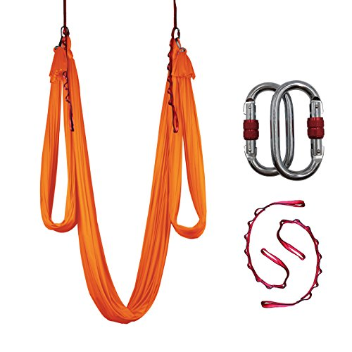 Dasking Deluxe 10m/set Yoga Swing Aerial Yoga Hammock kit with Daisy Chains Carabiners, Fabric & Guide (Orange)