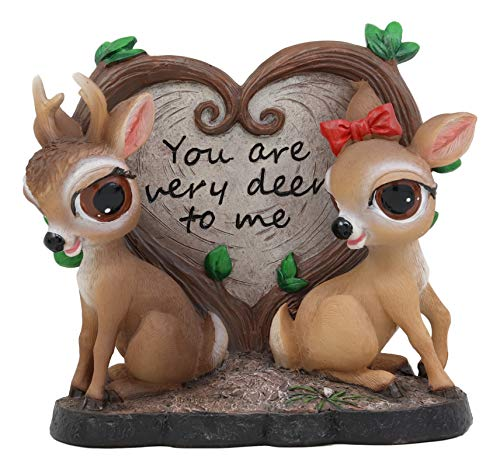 Ebros Valentines Romantic Love Deer Couple by Heart Shaped Plaque Decor Statue Deers Stag Bambi Elk Doe Rustic Wildlife Cabin Lodge Cottage Themed Decorative Figurine Deerly Devoted Sculpture