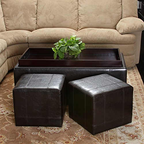 Christopher Knight Home 3-Piece Espresso Leather Storage Ottoman & Poufs Set