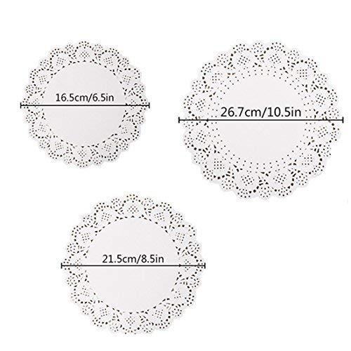Invitation Plate Wedding (Absolut sleep 144 Pieces 3 Size White Lace Paper Doilies Cake Packaging Pads Wedding Tableware Decoration, 10 Inch, 8 Inch and 6 Inch)
