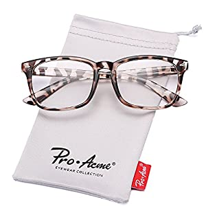 Pro Acme New Wayfarer Non-prescription Glasses Frame Clear Lens Eyeglasses (Leopard)