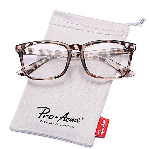 Pro Acme New Wayfarer Non-prescription Glasses Frame Clear Lens Eyeglasses - Leopard Glasses