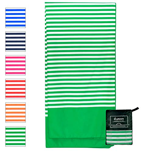 Microfiber Beach Towel for Travel - Oversized XL 70 x 35 Inch - Quick Dry, Sand Free, Extra Large, Lightweight with Zipper Bag - Compact, Perfect for Travel Towel and Beach Blanket (Green Tropics)