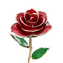 Ciamlir Forever Love 24k Golden Foil Rose - Best Gift For Valentine's Day Propose Mother's Day Wedding Day Anniversary Birthday Home Decor(Red)