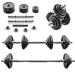 Home Treats 20KG Adjustable Cast Iron Dumbell/Barbell Set Fo...