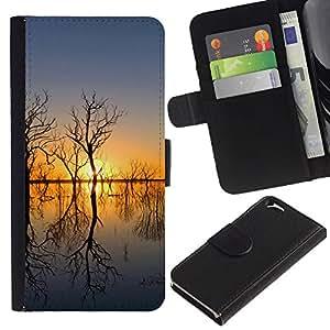 JackGot ( Tramonto Beautiful Nature 51 ) Apple (4.7 inches!!!) iPhone 6 / 6S la tarjeta de Crédito Slots PU Funda de cuero Monedero caso cubierta de piel