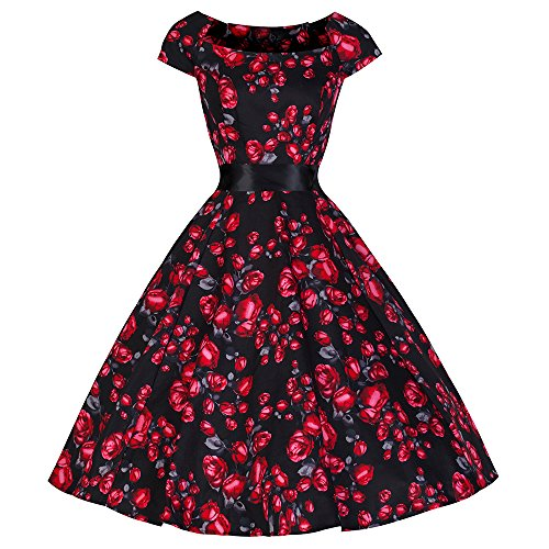 Pretty kitty fashion 50s rouge/noir/rose vintage tea robe pour femme