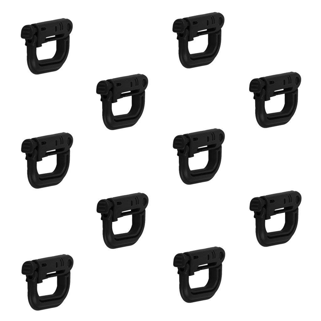 Vektenxi Anello a D per fibbia da arrampicata con fibbia moschettone nero 10 pezzi Pratico e popolare