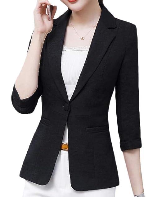 Amazon.com: Bigbarry - Chaqueta para mujer con un botón ...