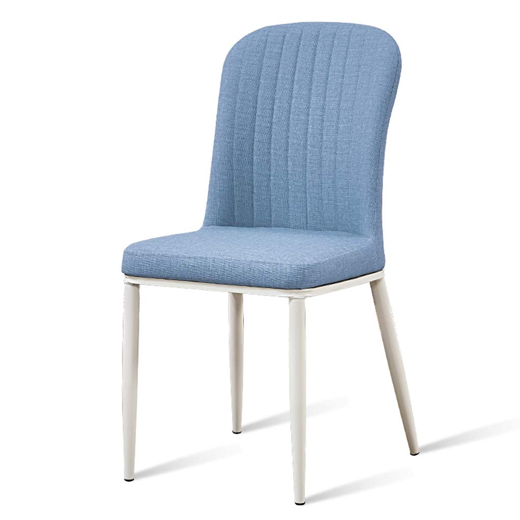 bluee C Home Dining Chair Simple Imitation Wood Wrought Iron Desk Coffee Chair Soft Bag Back Chair - Chair, Home, Dining, Cafe, Lounge, Bar