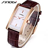 SINOBI Women Brown Leather Wristwatch, Business Casual Lady Men Designer Simple Rectangular Watch Golden