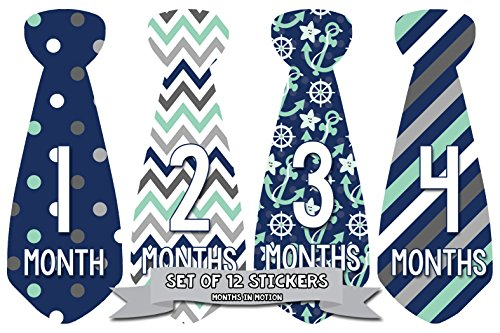Months in Motion 702 Monthly Baby Stickers Necktie Tie Baby Boy Months 1-12 by Months In Motion