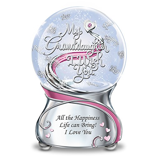 Musical Glitter Globe For Granddaughter With Swarovski Crystal And Poem Card by The Bradford Exchange ()