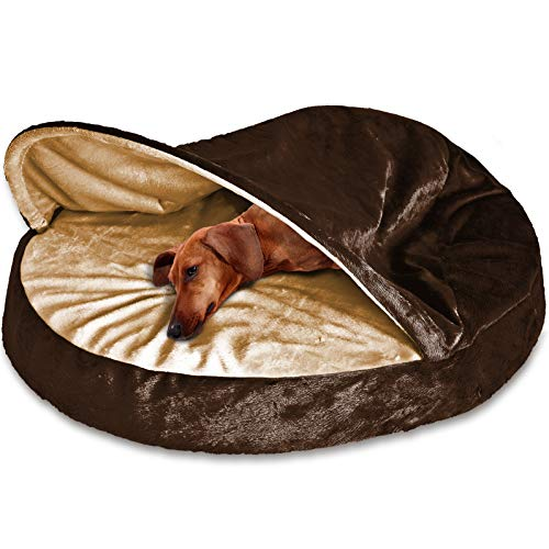 FurHaven Pet Dog Bed | Orthopedic Round Microvelvet Snuggery Burrow Pet Bed for Dogs & Cats, Espresso, 26-Inch