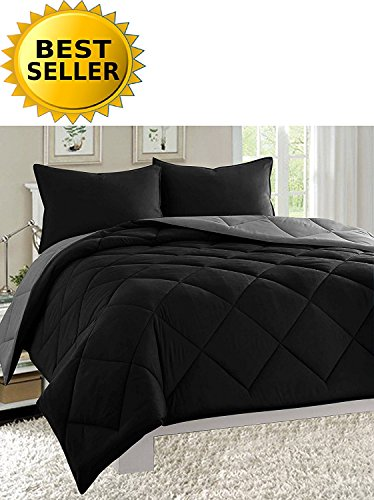 Celine Linen Luxury All Season Light Weight Down Alternative Reversible 3-Piece Comforter Set - HypoAllergenic, Diamond Stitched, Full/Queen, Black/Grey