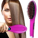Hair Straightening Brush,Professional Hair Straightener Brush Ceramic Anti Static Anti Scald Iron Heating Hair Styling Massage Detangling Comb Purple