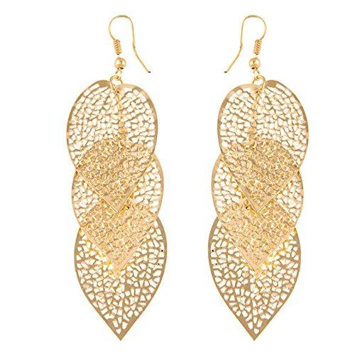 - Redvive Top 1Pair Women Alloy Hollow Leaves Dangle Earings Eardrop Jewelry
