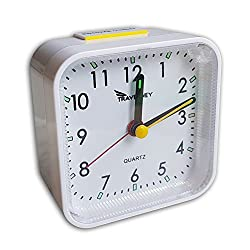 Travelwey Analog Travel Alarm Clock, No Ticking, Alarm, Snooze, Light, White