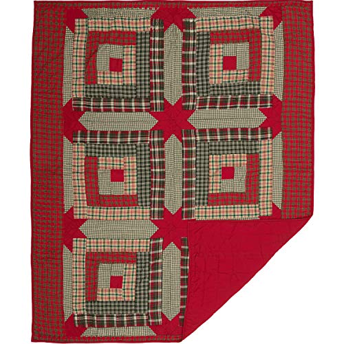 VHC Brands Forreston Cabin Quilted 60x50 Throw, Red