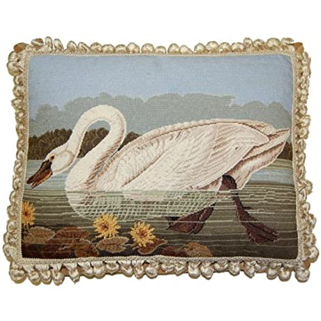 Deluxe Pillows Swan Looking Ahead 16 X 20 In Needlepoint Pillow